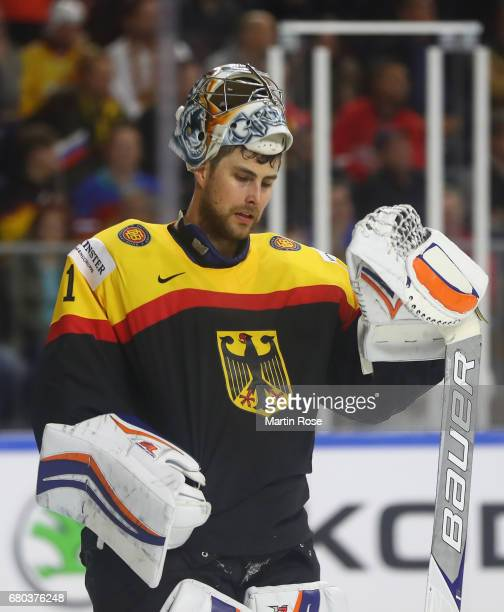 Thomas Greiss of Germany looks dejected during the 2017 IIHF Ice Hockey World Championship game between Germany and Russia at Lanxess Arena on May 8,...