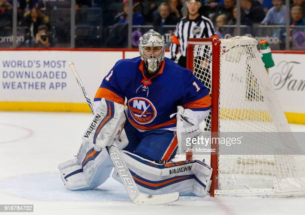 Thomas Greiss of the New York Islanders in action against the Detroit Red Wings at Barclays Center on February 9 2018 in New York City The Islanders...