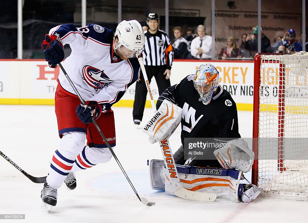 Thomas Greiss #1 of the New York Islanders makes a save against Scott Hartnell #43 of the Columbus Blue Jackets during their game at the Barclays Center on January 12, 2016 in New York City.