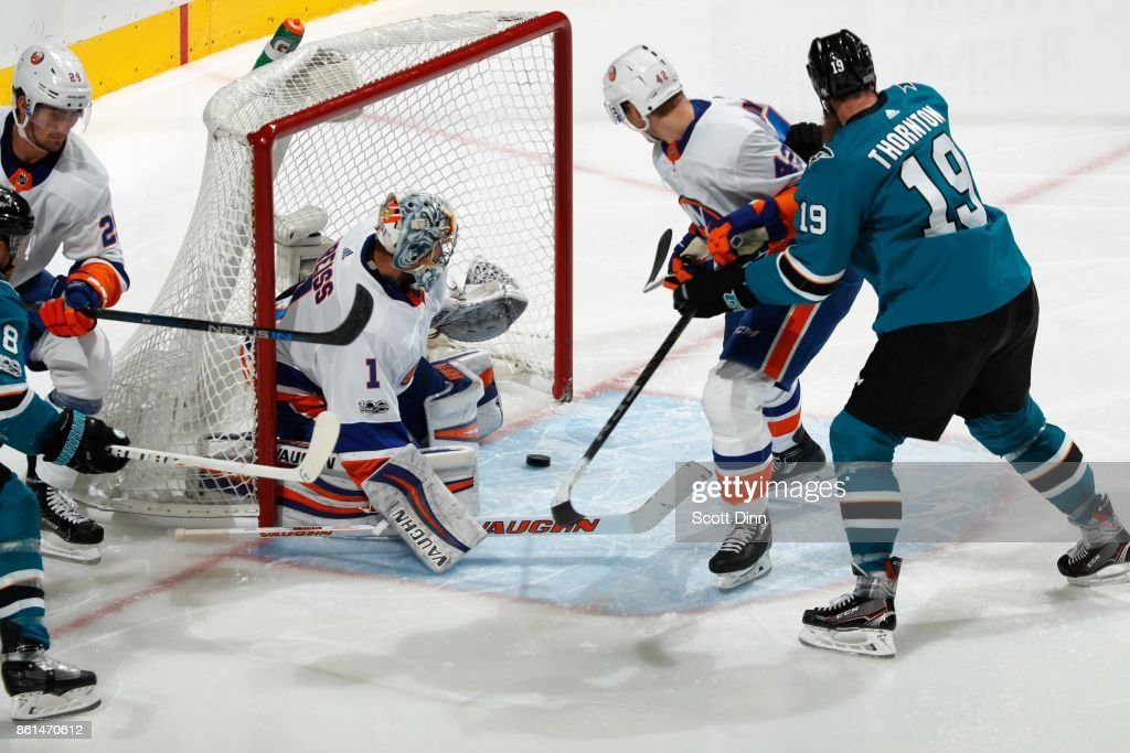 Thomas Greiss #1 of the New York Islanders makes a save during a NHL game against San Jose Sharks at SAP Center on October 14, 2017 in San Jose, California.