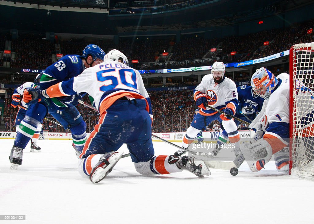 Thomas Greiss #1 of the New York Islanders makes a save on a Vancouver Canucks shot during their NHL game at Rogers Arena March 9, 2017 in Vancouver, British Columbia, Canada. New York won 4-3 in overtime.