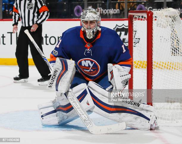 Thomas Greiss of the New York Islanders prepares to make a save during the second period of a game against the Edmonton Oilers at Barclays Center on...