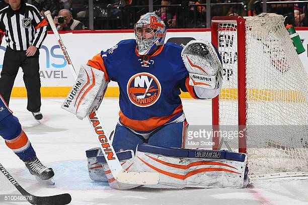 Thomas Greiss of the New York Islanders skates against the Los Angeles Kings at the Barclays Center on February 11 2016 in Brooklyn borough of New...