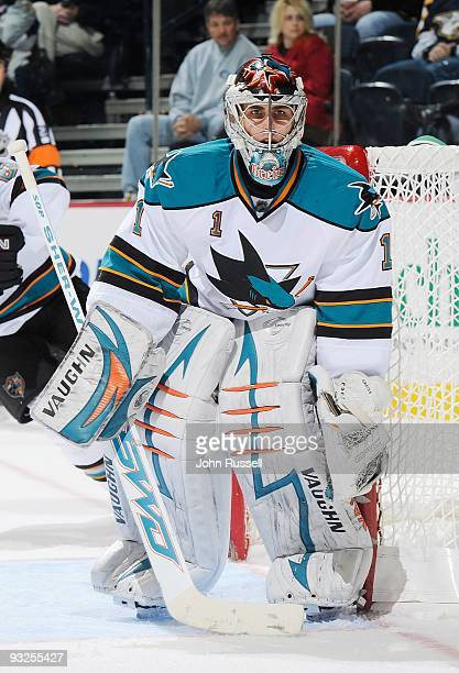Thomas Greiss of the San Jose Sharks minds the net against the Nashville Predators on November 17 2009 at the Sommet Center in Nashville Tennessee