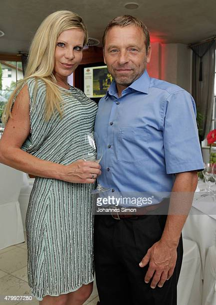 Thomas Haessler and his girl friend Anke attend the 2nd evening of the FIFA World Champions of 1990 meeting at Hotel Seeleiten on July 8 2015 in...
