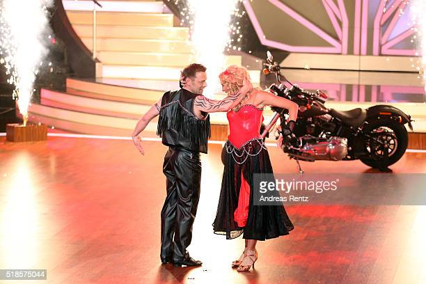 Thomas Haessler and Regina Luca perform on stage during the 3rd show of the television competition 'Let's Dance' on April 1 2016 in Cologne Germany