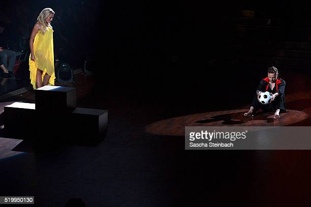Thomas Haessler and Regina Luca perform on stage during the 4th show of the television competition 'Let's Dance' at Coloneum on April 8 2016 in...