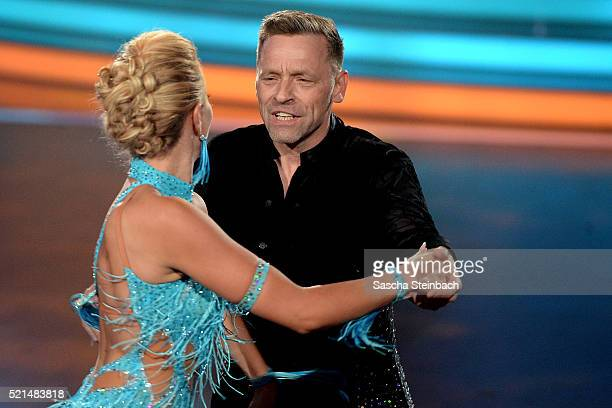 Thomas Haessler and Regina Luca perform on stage during the 5th show of the television competition 'Let's Dance' at Coloneum on April 15 2016 in...