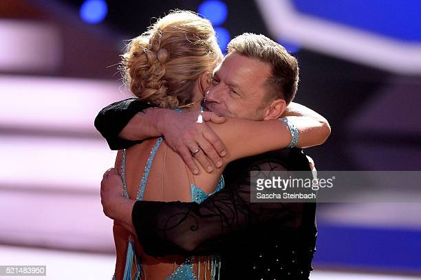 Thomas Haessler and Regina Luca react after being retired during the 5th show of the television competition 'Let's Dance' at Coloneum on April 15...