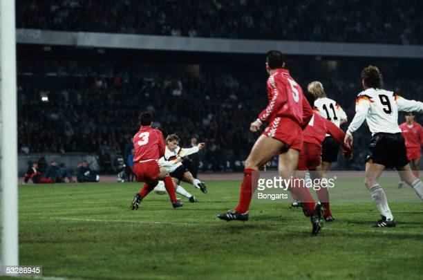 Thomas Haessler of Germany scores the second goal during the FIFA World Championship qualifying match between Germany and Wales on November 15, 1989...