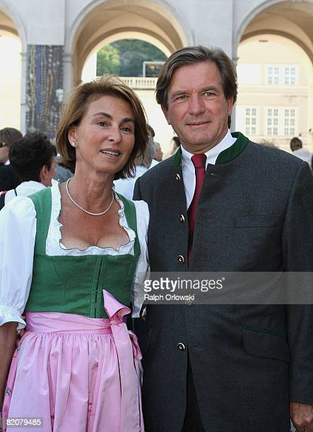 Thomas Haffa and his wife Gabriele arrive for the premiere of 'Jedermann' 'Every man' written by Hugo von Hofmannsthal during the annual Salzburg...