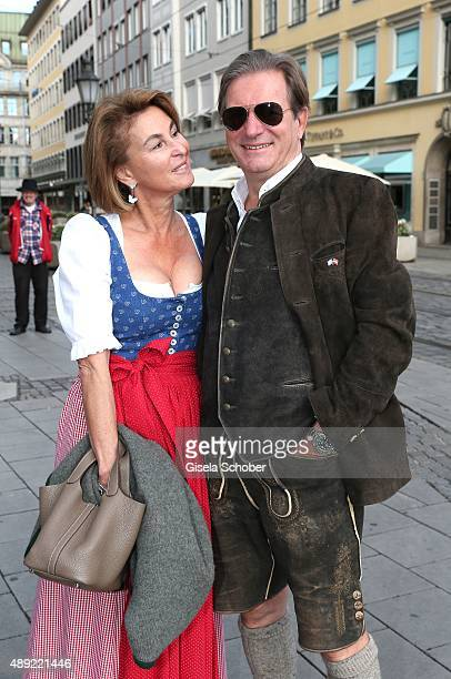 Thomas Haffa and his wife Gabriele during the 'Fruehstueck bei Tiffany' at Tiffany Store ahead of the Oktoberfest 2015 on September 19 2015 in Munich...