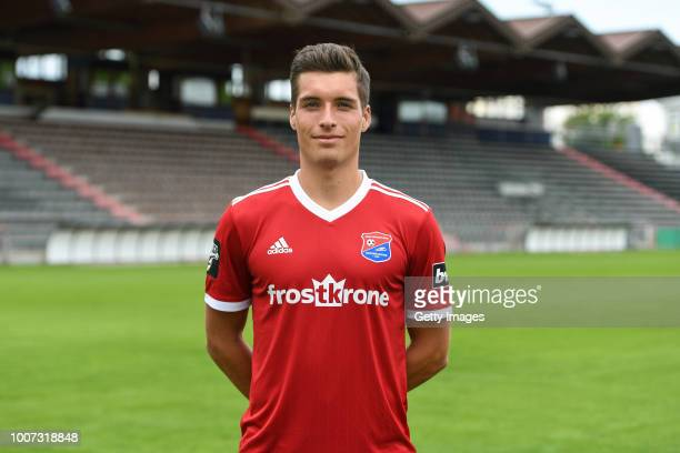 Thomas Hagn of SpVgg Unterhaching poses during the team presentation at Alpenbauer Sportpark on July 4 2018 in Unterhaching Germany