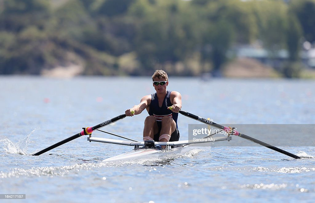 Thomas Hallwright of Rutherford College races in the second semi final of the boys U18 single scull during day four of the Maadi Cup at Lake Karapiro on March 21, 2013 in Cambridge, New Zealand.
