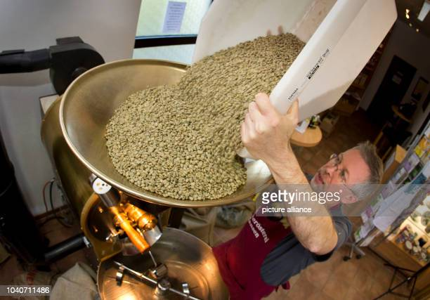 Thomas Hansen shakes green coffee beans into the roaster at the Hansen Coffee Rosters inRoedermark,Germany, 25 April 2013. Coffee is roasted more...