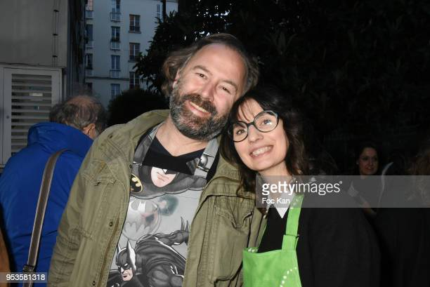 Thomas Hardy and Zelia Van den Bulke attend Zelia Van Den Bulke Aprons show At Zelia Abbesses Shop on May 1, 2018 in Paris, France.