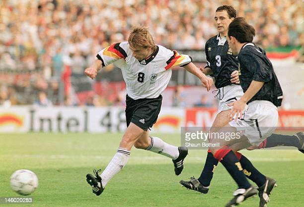 Thomas Hassler of Germany bursts forward during the UEFA European Championships 1992 Group 2 match between Scotland and Germany held at the...