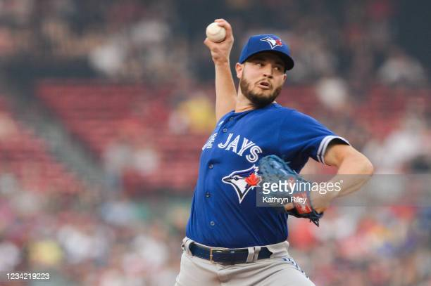 Thomas Hatch of the Toronto Blue Jays pitches in the first inning against the Boston Red Sox at Fenway Park on July 26, 2021 in Boston, Massachusetts.