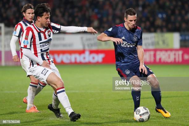 Thomas Haye of Willem II Nick Viergever of Ajax during the Dutch Eredivisie match between Willem II v Ajax at the Koning Willem II Stadium on October...