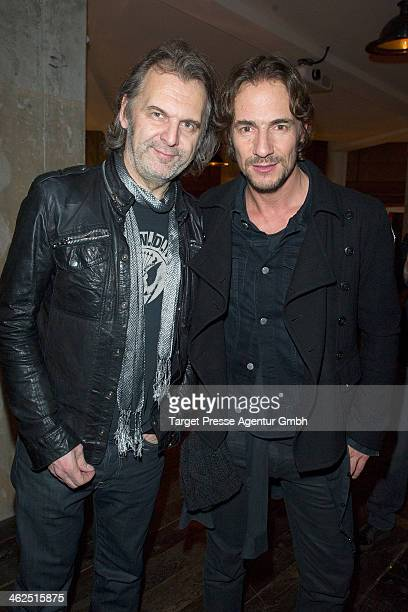 Thomas Hayo and his brother Peter Hayo attend the 7 for all Mankind Cocktail at Soho House on January 13 2014 in Berlin Germany