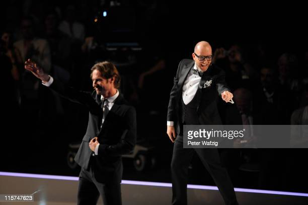 Thomas Hayo and Thomas Rath during the finalists show of 'Germany's Next Topmodel' at the LanxessArena on June 09 2011 in Cologne Germany