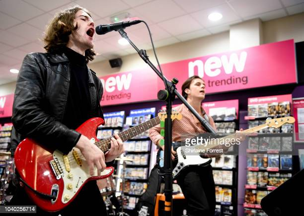 Thomas Haywood and Charlie McGough of The Blinders perform live and sign copies of their album 'Columbia' at HMV Doncaster on September 25 2018 in...