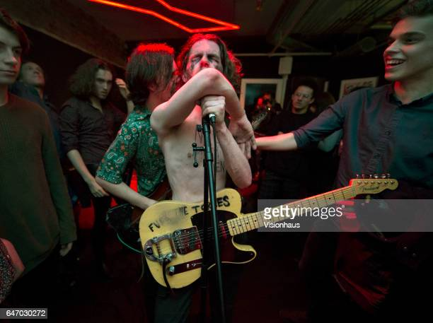 Thomas Haywood lead singer and guitarist with The Blinders and bass player Charlie McGough perform at Jimmy's on February 24 2017 in Manchester...