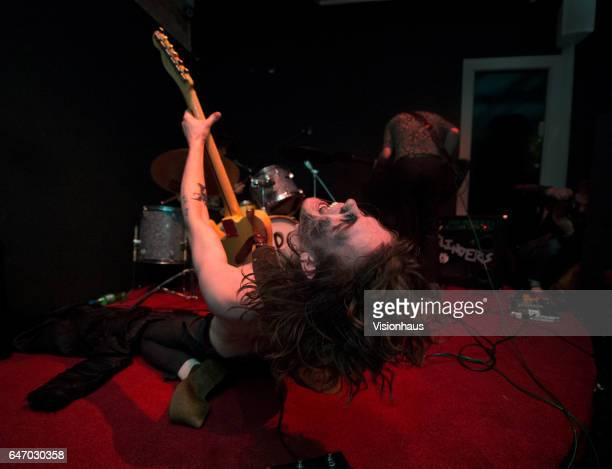 Thomas Haywood lead singer and guitarist with The Blinders performs at Jimmy's on February 24 2017 in Manchester England