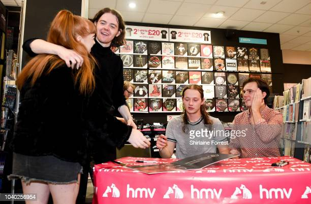 Thomas Haywood Matt Neale and Charlie McGough of The Blinders perform live and sign copies of their album 'Columbia' at HMV Doncaster on September 25...