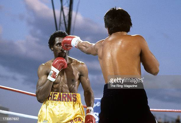 Thomas Hearns eyes the punch from Roberto Duran during the fight at Caesars Palace in Las Vegas Nevada Thomas Hearns won the WBC light middleweight...