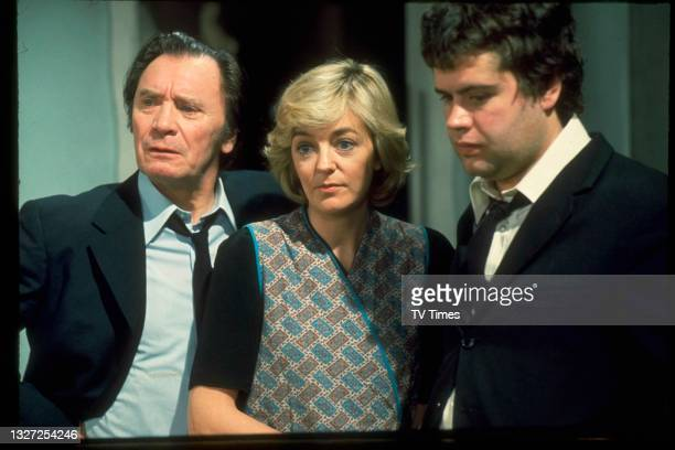 Thomas Heathcote, Susan Hanson and Paul Henry in character as Ed Lawton, Diane Parker and Benny Hawkins in television soap Crossroads, circa 1977.