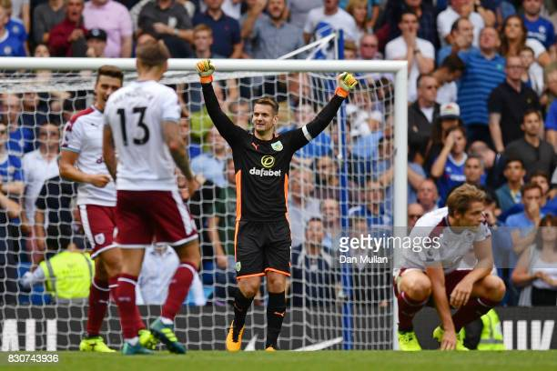 Thomas Heaton of Burnley celebrates after the Premier League match between Chelsea and Burnley at Stamford Bridge on August 12 2017 in London England