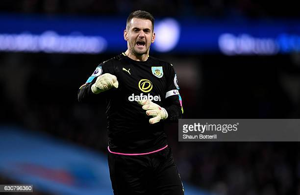 Thomas Heaton of Burnley celebrates his side first goal during the Premier League match between Manchester City and Burnley at Etihad Stadium on...