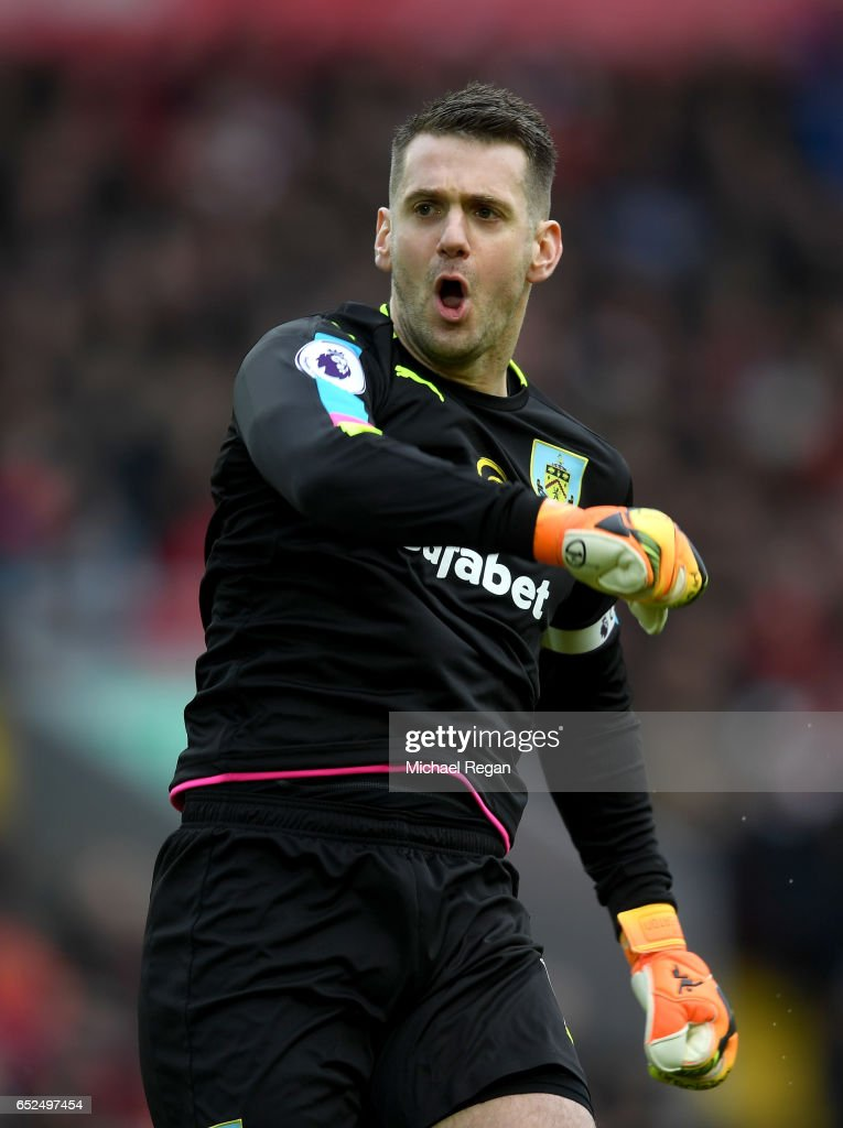 Thomas Heaton of Burnley celebrates his sides first goal after Ashley Barnes of Burnley (not pictured) scored during the Premier League match between Liverpool and Burnley at Anfield on March 12, 2017 in Liverpool, England.