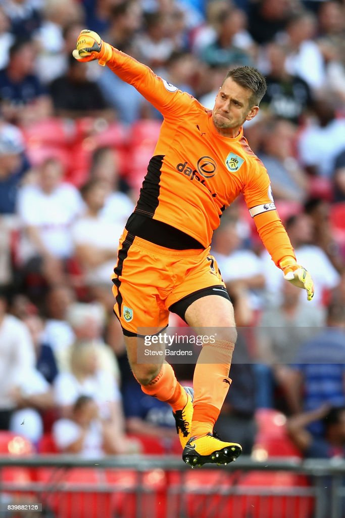 Thomas Heaton of Burnley celebrates his sides first goal during the Premier League match between Tottenham Hotspur and Burnley at Wembley Stadium on August 27, 2017 in London, England.