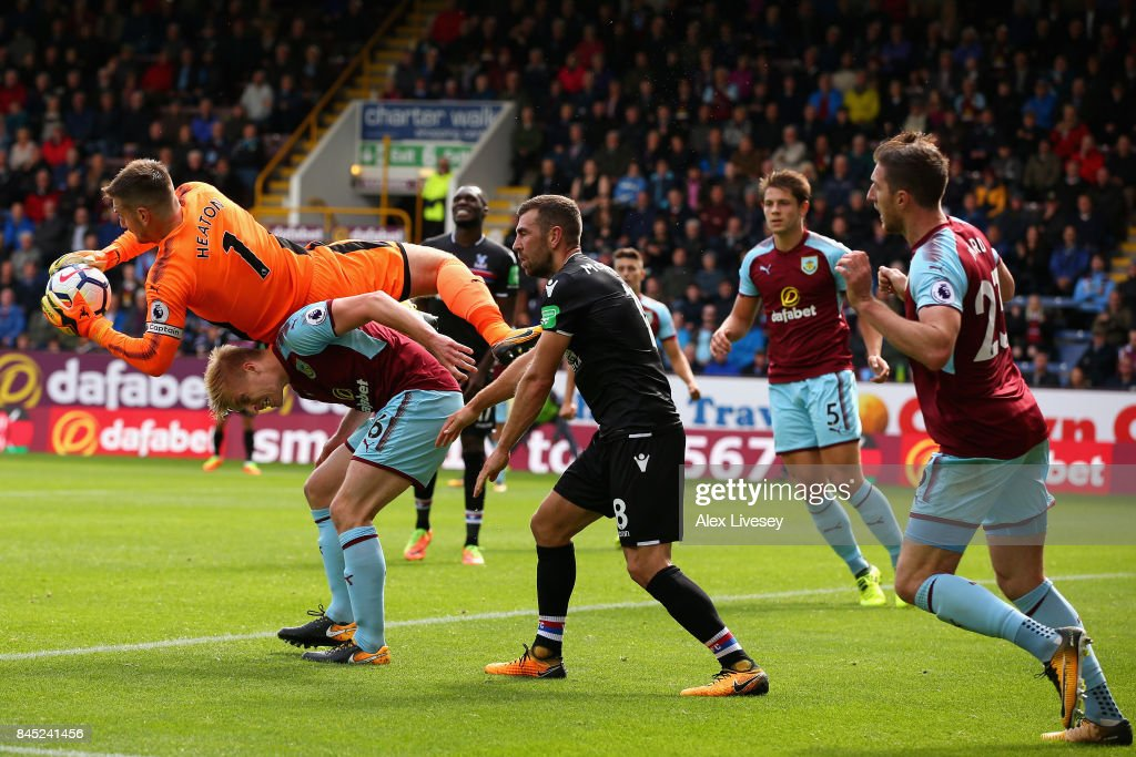 Thomas Heaton of Burnley collects the ball leading to an injury during the Premier League match between Burnley and Crystal Palace at Turf Moor on September 10, 2017 in Burnley, England.