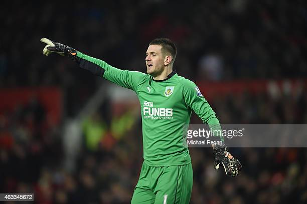 Thomas Heaton of Burnley in action during the Barclays Premier League match between Manchester United and Burnley at Old Trafford on February 11 2015...