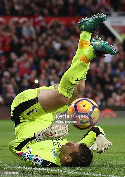 Thomas Heaton of Burnley makes a save during the Premier League match between Manchester United and Burnley at Old Trafford on October 29 2016 in...