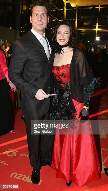 Thomas Heinze and Nina Kronjaeger arrive at the Goldene Kamera Awards at Axel Springer House on February 9 2005 in Berlin Germany