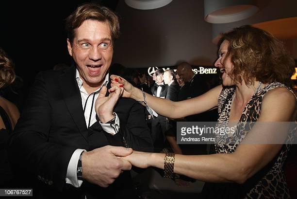 Thomas Heinze and Nina Kronjaeger dance at the Bambi 2010 Award After Show Party at Filmpark Babelsberg on November 11 2010 in Potsdam Germany