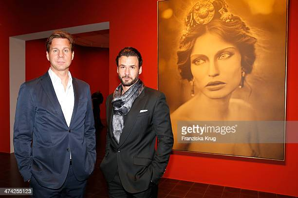 Thomas Heinze and Stephan Luca attend the 'Feuerbachs Musen Lagerfelds Models' Exhibition at Kunsthalle on February 22 2014 in Hamburg Germany