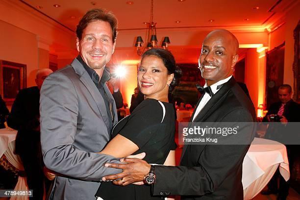 Thomas Heinze, Jackie Brown and Yared Dibaba attend the Gala Spa Awards 2014 at Brenners Parkhotel Baden-Baden on March 15, 2014 in Baden-Baden,...