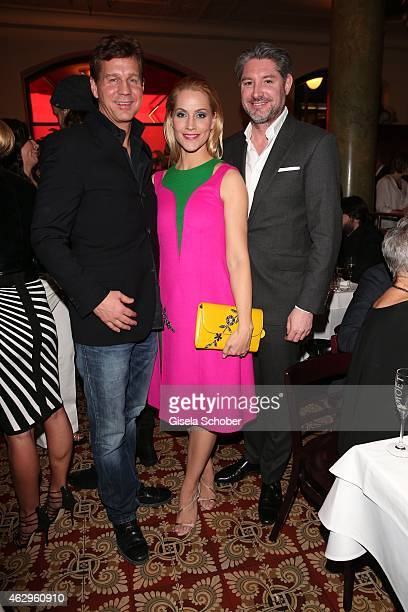 Thomas Heinze Judith Rakers and husband Andreas Pfaff attend the Bild 'Place to B' Party at Borchardt Restaurant on February 7 2015 in Berlin Germany