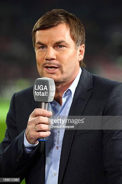 Thomas Helmer moderator of LigaTotal poses during the Bundesliga match between Fortuna Duesseldorf and FC Schalke 04 at EspritArena on September 28...