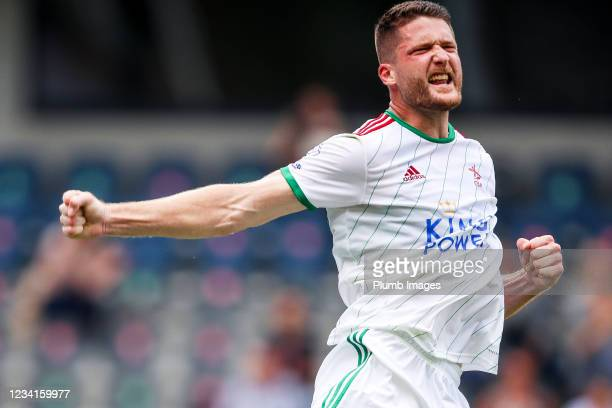 Thomas Henry of OH Leuven celebrates after scoring a penalty to make it 1-1 during the Jupiler Pro League match between OH Leuven and Zulte Waregem...