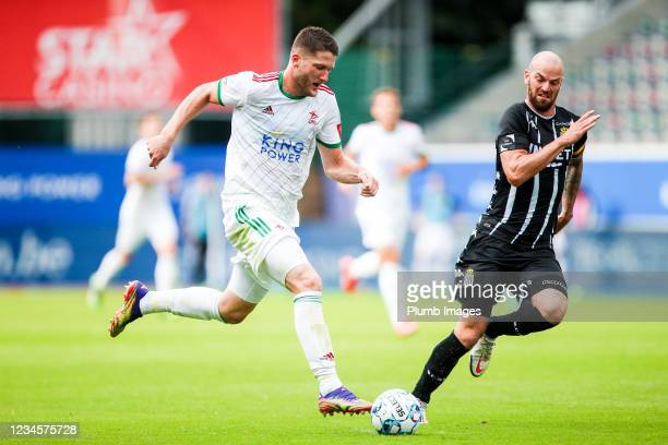 Thomas Henry of OH Leuven during the Jupiler Pro League match between OH Leuven and Sporting Charleroi at the King Power at Den Dreef Stadion on...