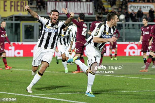 Thomas Heurtaux of Udinese Calcio celebrates after scoring a goal during the Serie A match between AS Livorno Calcio and Udinese Calcio at Stadio...