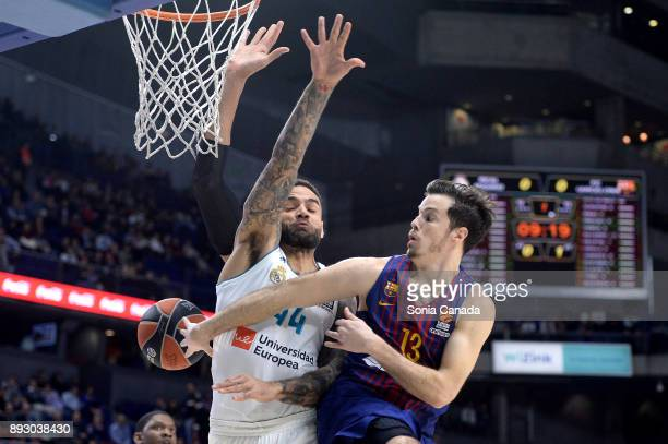 Thomas Heurtel #13 guard of FC Barcelona Lassa and Jeffery Taylor #44 forward of Real Madrid during the 2017/2018 Turkish Airlines Euroleague Regular...