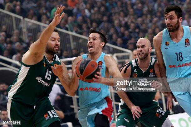 Thomas Heurtel #13 of FC Barcelona Lassa competes with Ian Vougioukas #15 of Panathinaikos Superfoods Athens during the 2017/2018 Turkish Airlines...