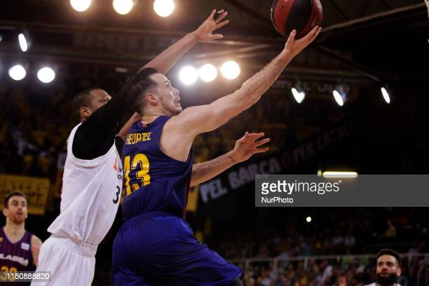 Thomas Heurtel and Anthony Randolph during the third match of the final play off of the spanish Liga Endesa league played at the Palau Blaugrana on...